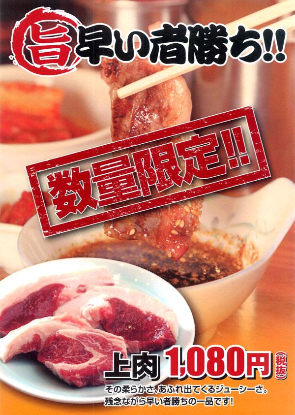 ジンギスカン ダルマ 本店新メニュー|ラム上肉